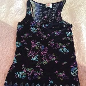 Free People Tank Top Black W/ Floral  Extra Small
